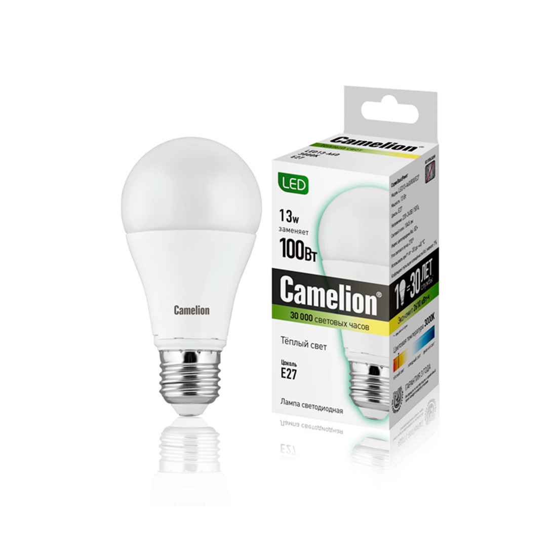 Эл. лампа светодиодная Camelion А60/3000К/E27/13Вт, Тёплый