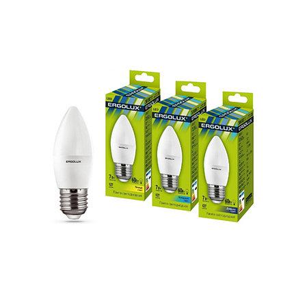 Эл. лампа светодиодная Ergolux C35/6500K/E27/7Вт, Дневной, фото 2