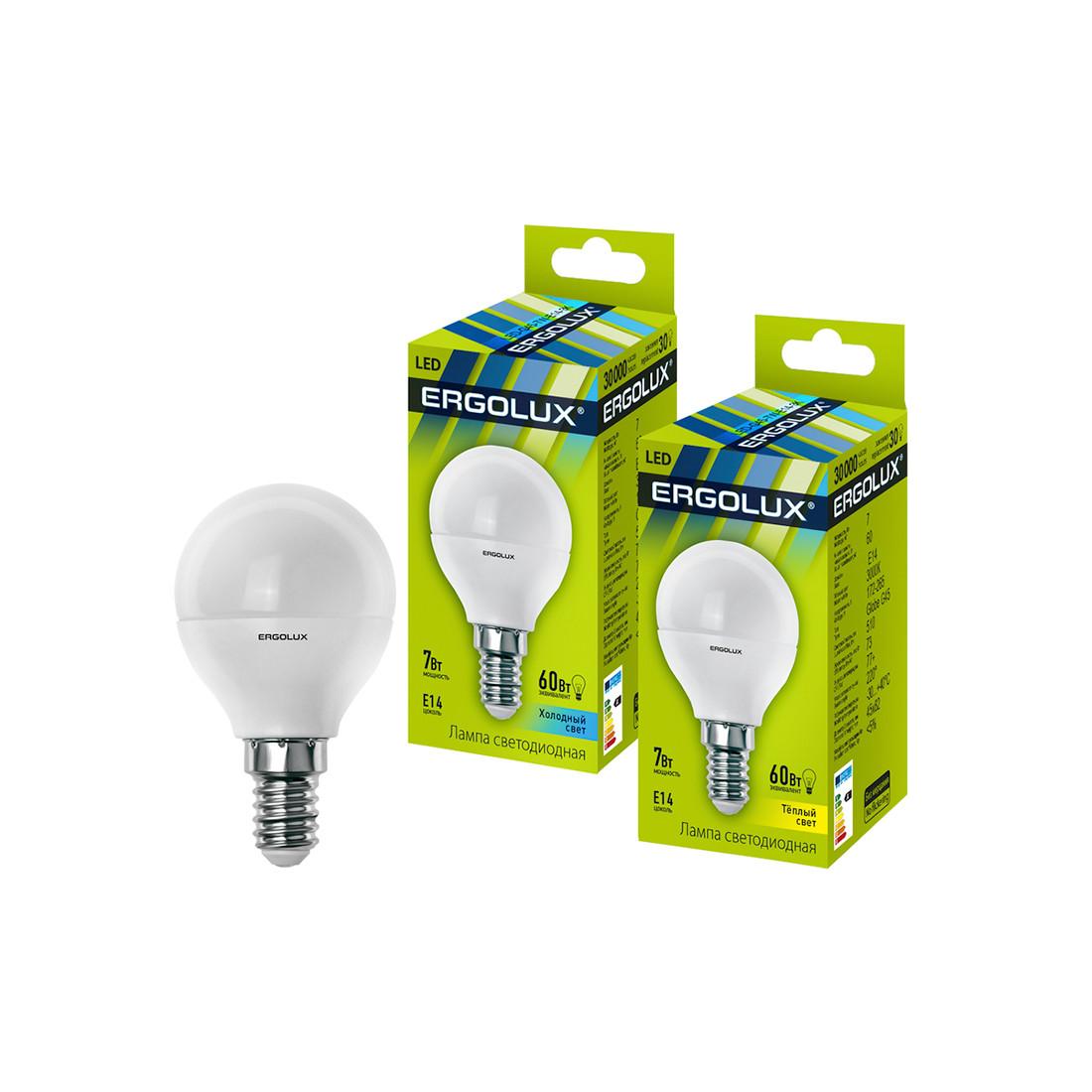 Эл. лампа светодиодная Ergolux G45/3000K/E14/7Вт, Тёплый