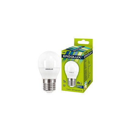 Эл. лампа светодиодная Ergolux G45/6500K/E27/7Вт, Дневной, фото 2