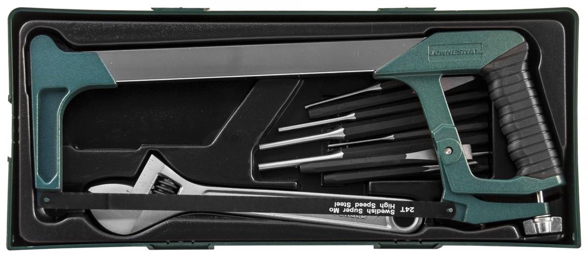 M645114SP Набор инструмента ножовка, разводной ключ, зубила и выколотки в ложементе, 14 предметов