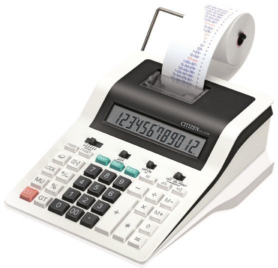 Калькулятор с печатью 12 разрядов, лента 57мм, печать 2 цвета, серый Citizen