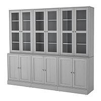 ХАВСТА Комбинация для хранения с сткл двр, серый, фото 1