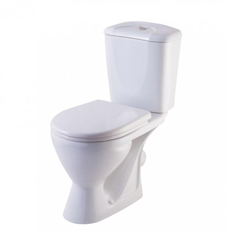 Напольный унитаз Rosa Комфорт, белый, косой выпуск, сиденье дюропласт микролифт