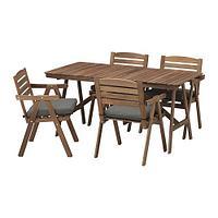 ФАЛЬХОЛЬМЕН Стол+4 кресла, д/сада, серо-коричневый, ФРЁСЁН/ДУВХОЛЬМЕН темно-серый