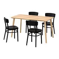 ЛИСАБО / ИДОЛЬФ Стол и 4 стула, ясеневый шпон, черный