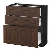 МЕТОД / МАКСИМЕРА Напольный шкаф с 3 ящиками, черный, Эдсерум коричневый