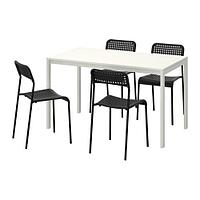 МЕЛЬТОРП / АДДЕ Стол и 4 стула, белый, черный, фото 1