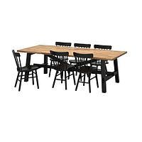 СКОГСТА / НОРРАРИД Стол и 6 стульев, акация, черный