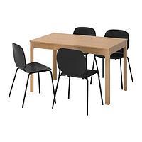ЭКЕДАЛЕН / СВЕН-БЕРТИЛЬ Стол и 4 стула, дуб, черный