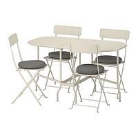 САЛЬТХОЛЬМЕН Садовый складной стол+4 стула, бежевый, ФРЁСЁН/ДУВХОЛЬМЕН темно-серый