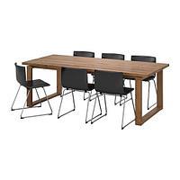 МОРБИЛОНГА / БЕРНГАРД Стол и 6 стульев, коричневый, Кават темно-коричневый