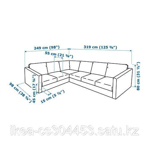 ВИМЛЕ 5-местный угловой диван, Гуннаред классический серый - фото 6