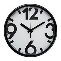 ЮККЕ Настенные часы, белый, черный