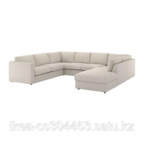ВИМЛЕ 6-местный п-образный диван, с открытым торцом, Гуннаред бежевый - фото 1