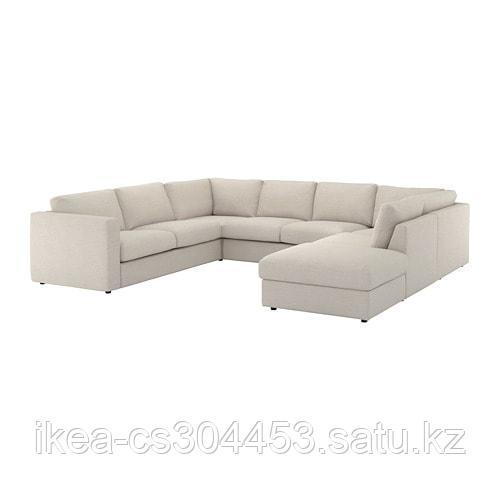 ВИМЛЕ 6-местный п-образный диван, с открытым торцом, Гуннаред бежевый - фото 5