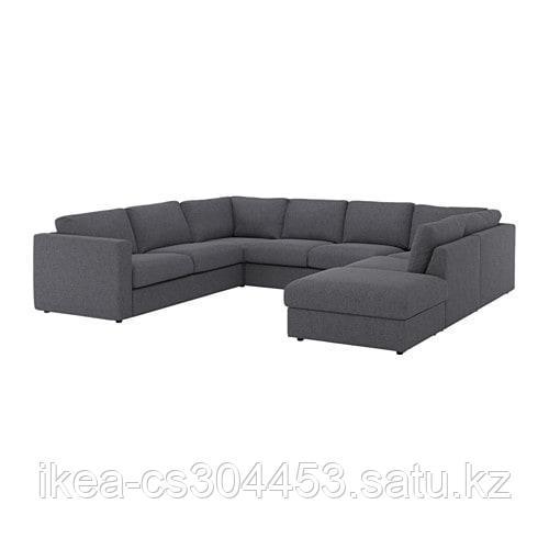 ВИМЛЕ 6-местный п-образный диван, с открытым торцом, Гуннаред классический серый - фото 1