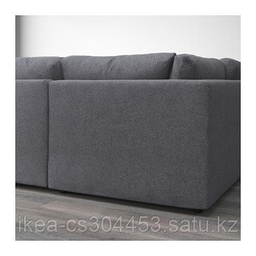 ВИМЛЕ 6-местный п-образный диван, с открытым торцом, Гуннаред классический серый - фото 3