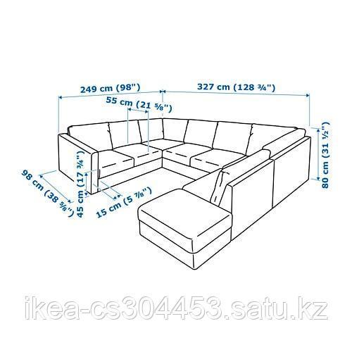 ВИМЛЕ 6-местный п-образный диван, с открытым торцом, Гуннаред классический серый - фото 5