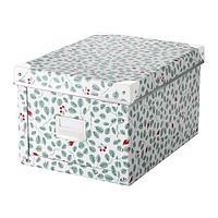 ФЬЕЛЛА Коробка с крышкой, белый, зеленый