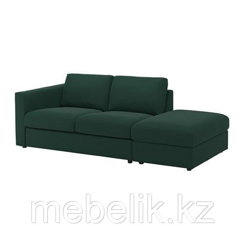 ВИМЛЕ 3-местный диван, с открытым торцом, Гуннаред темно-зеленый - фото 1
