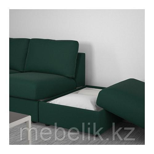 ВИМЛЕ 3-местный диван, с открытым торцом, Гуннаред темно-зеленый - фото 9