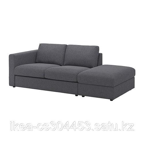 ВИМЛЕ 3-местный диван, с открытым торцом, Гуннаред классический серый - фото 1