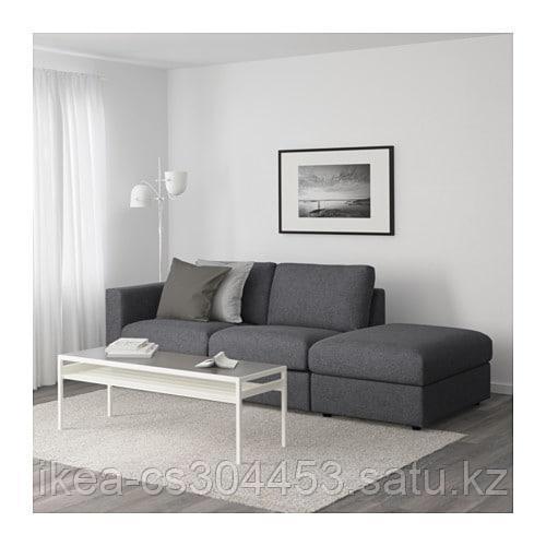 ВИМЛЕ 3-местный диван, с открытым торцом, Гуннаред классический серый - фото 2