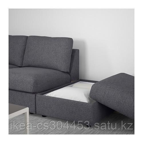 ВИМЛЕ 3-местный диван, с открытым торцом, Гуннаред классический серый - фото 7