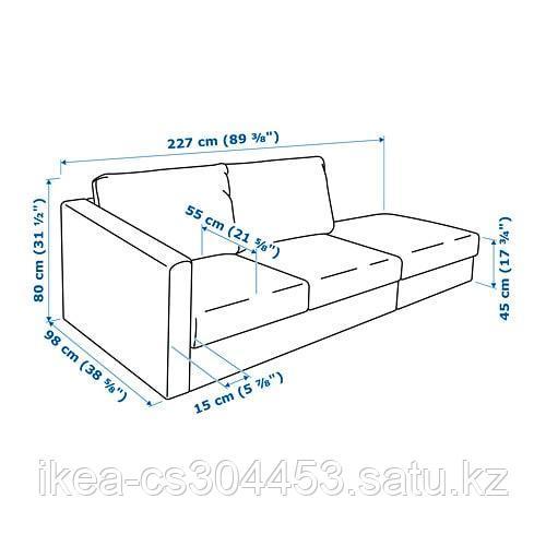 ВИМЛЕ 3-местный диван, с открытым торцом, Гуннаред классический серый - фото 8