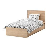 МАЛЬМ Каркас кровати+2 кроватных ящика, дубовый шпон, беленый, фото 1