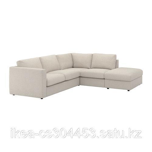 ВИМЛЕ 4-местный угловой диван, с открытым торцом, Гуннаред бежевый - фото 1