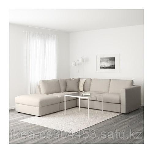 ВИМЛЕ 4-местный угловой диван, с открытым торцом, Гуннаред бежевый - фото 2