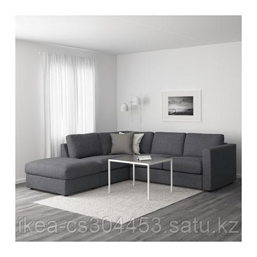 ВИМЛЕ 4-местный угловой диван, с открытым торцом, Гуннаред классический серый - фото 2