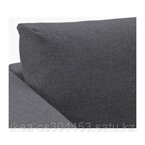 ВИМЛЕ 4-местный угловой диван, с открытым торцом, Гуннаред классический серый - фото 3