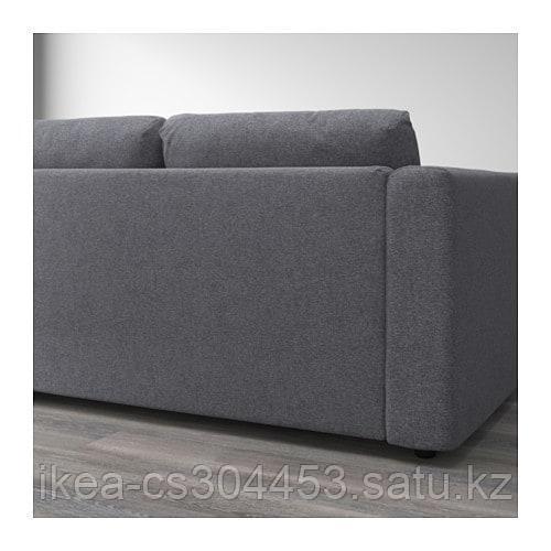 ВИМЛЕ 4-местный угловой диван, с открытым торцом, Гуннаред классический серый - фото 4