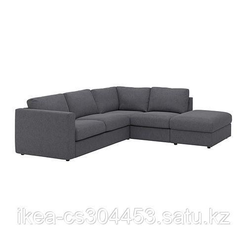 ВИМЛЕ 4-местный угловой диван, с открытым торцом, Гуннаред классический серый - фото 5