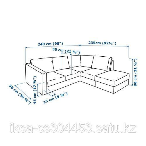 ВИМЛЕ 4-местный угловой диван, с открытым торцом, Гуннаред классический серый - фото 7