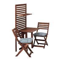 ЭПЛАРО Панель+стол+2 стула, коричневая морилка, Иттерон синий, фото 1