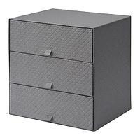 ПАЛЬРА Мини-комод с 3 ящиками, темно-серый, фото 1