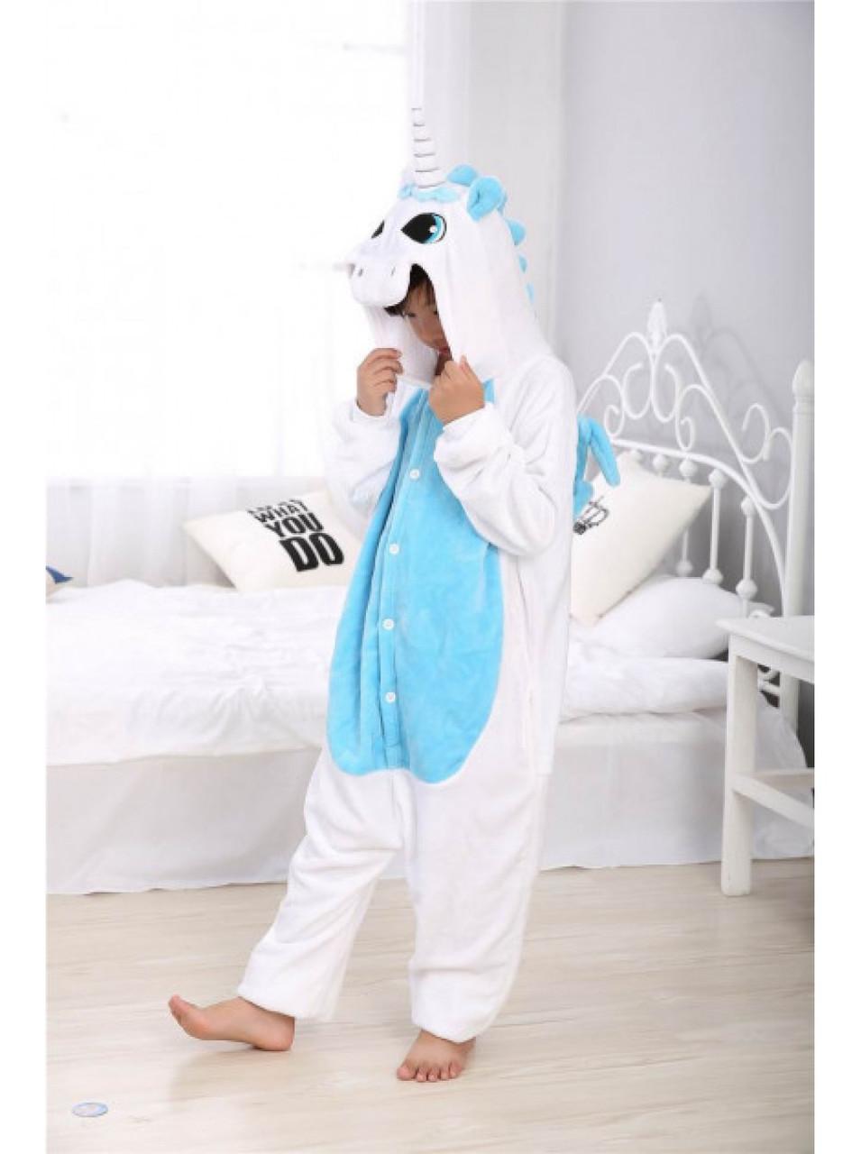 Кигуруми Бело-голубой единорог Пегас детский