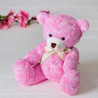 Мягкая игрушка 'Медведь', 20 см, с бантом, цвет розовый