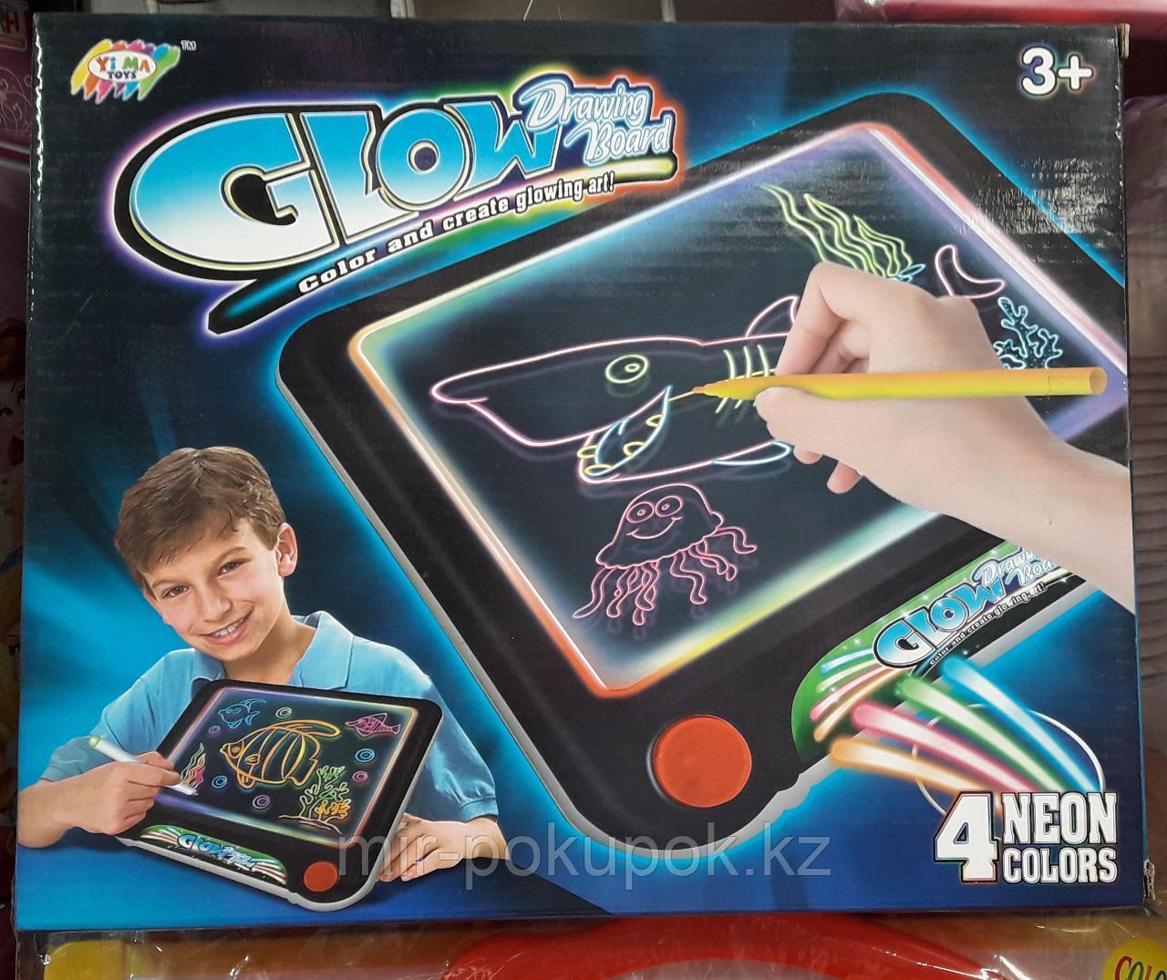 Светящаяся доска-планшет для рисования Glow drawing  (4 неоновых цвета) 4 в 1 Алматы