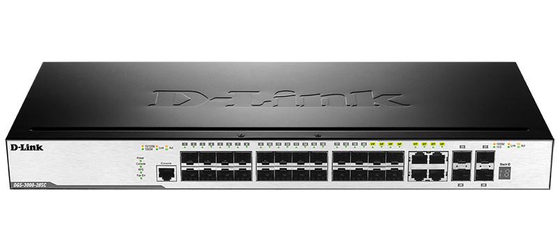 D-Link DGS-3000-28SC Управ-й  20 портов SFP + 4 комбо-портами 1000Base-T/SFP +  2 порт 10G SFP+ /
