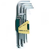 """Набор ключей шестигранных1.27-10мм Г-образных с шаромудлиненных10пр. F-5102LB""""FORCE"""""""