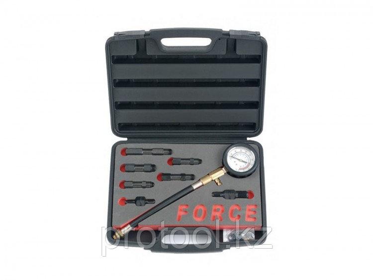 """Компрессометр для бензиновых двигателей с насадками 10,12,14,18мм 9пр. в кейсе F-909G1 """"FORCE"""""""