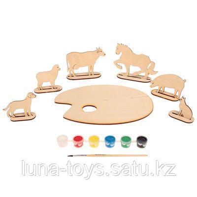 Палитра «Домашние животные» на подставк с набором акрил красок и кисточ, в пласт сум 70965/2