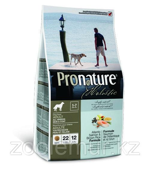 Pronature Holistic Adult All Breeds для здоровья кожи и шерсти собак, лосось с рисом 340 гр.