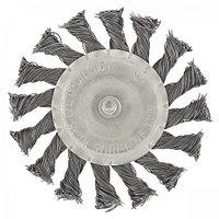 Щетка для дрели, 100 мм, плоская со шпилькой, крученая металлическая проволока. СИБРТЕХ