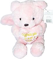 Мишка  20 см белый/розовый с сердцем и крыльями , фото 1